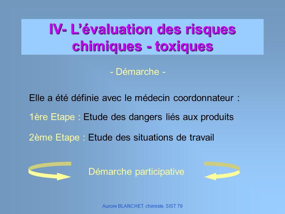 IV- L'évaluation des risques chimiques - toxiques