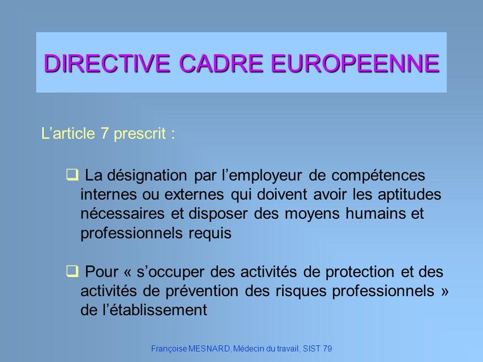 DIRECTIVE CADRE EUROPEENNE