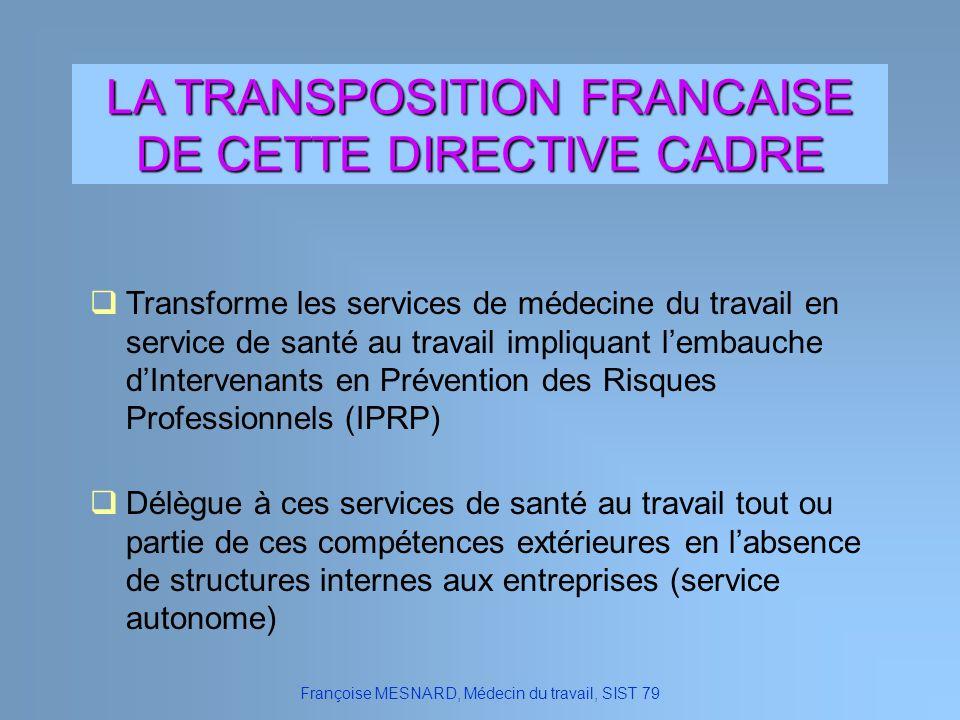 LA TRANSPOSITION FRANCAISE DE CETTE DIRECTIVE CADRE