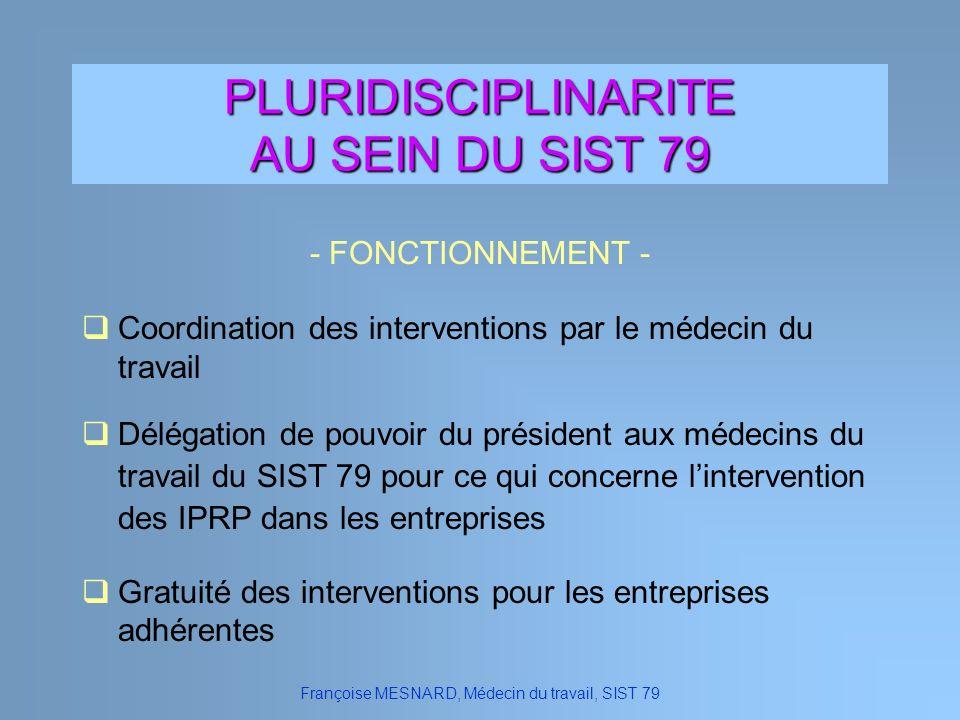 Françoise MESNARD, Médecin du travail, SIST 79