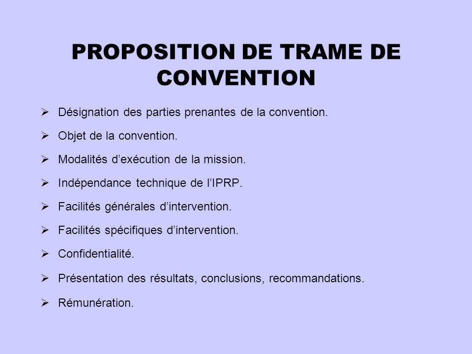 PROPOSITION DE TRAME DE CONVENTION