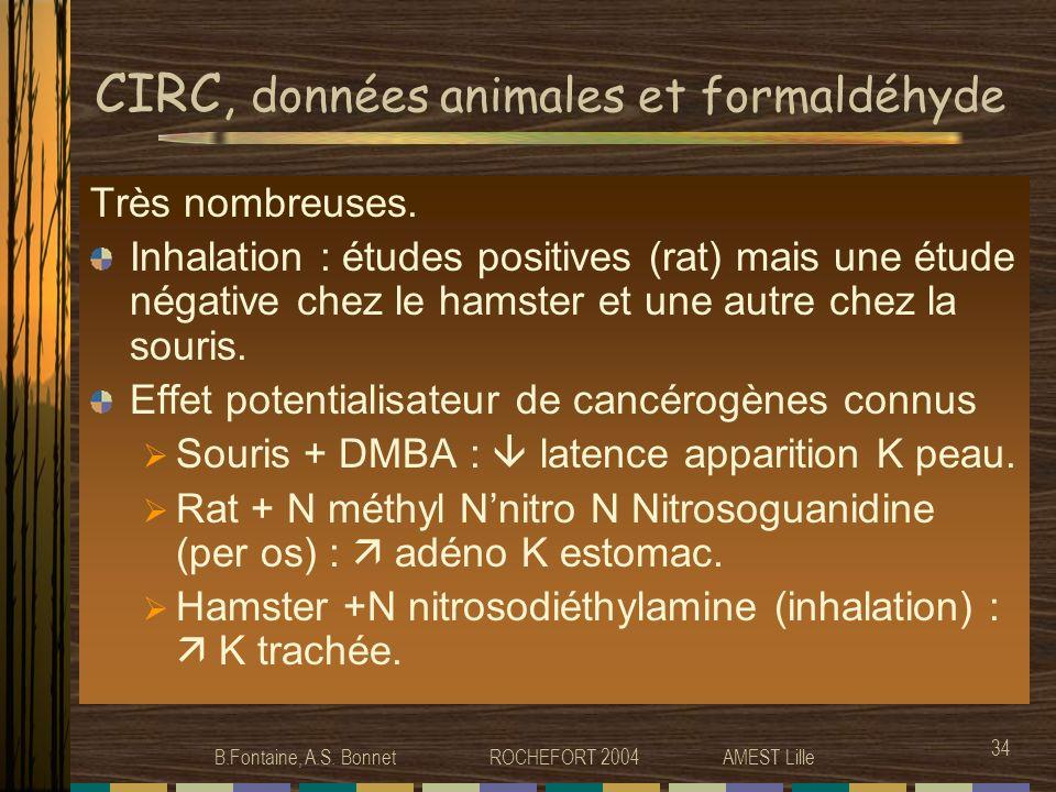 CIRC, données animales et formaldéhyde