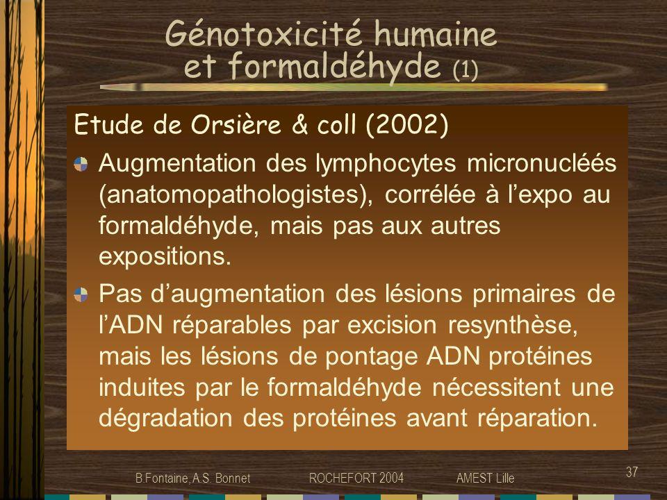 Génotoxicité humaine et formaldéhyde (1)