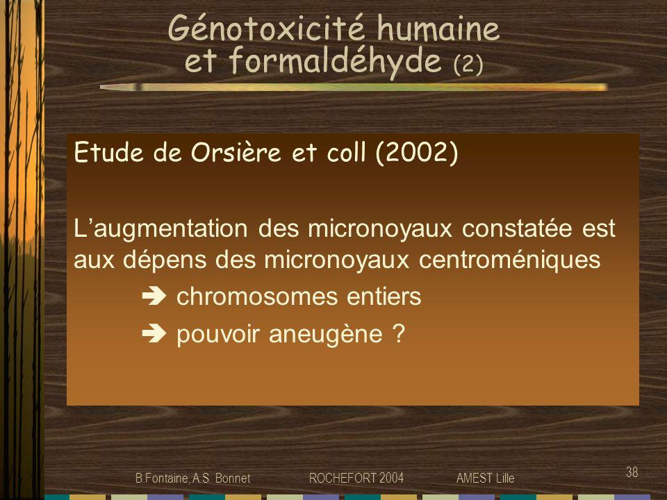 Génotoxicité humaine et formaldéhyde (2)
