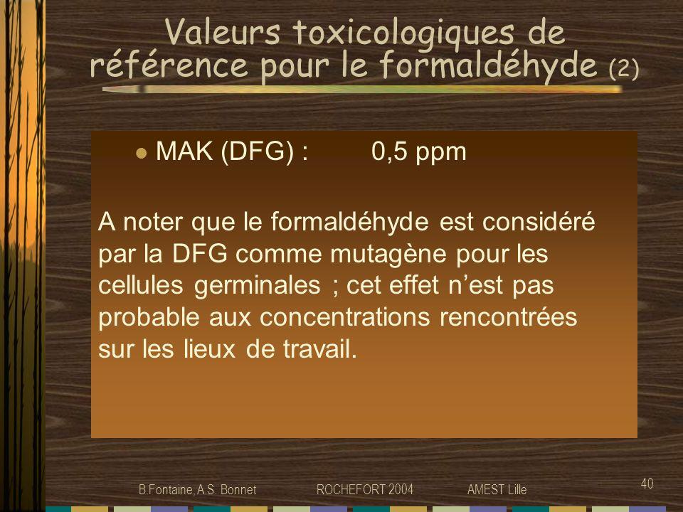 Valeurs toxicologiques de référence pour le formaldéhyde (2)