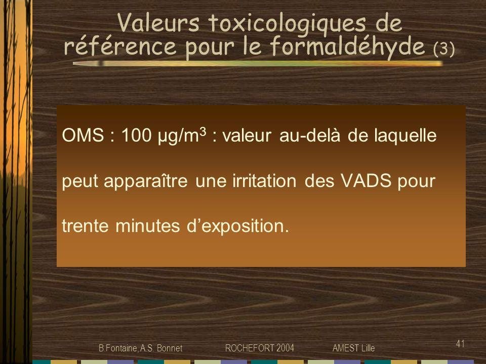 Valeurs toxicologiques de référence pour le formaldéhyde (3)