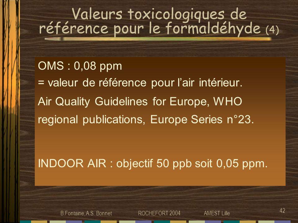 Valeurs toxicologiques de référence pour le formaldéhyde (4)