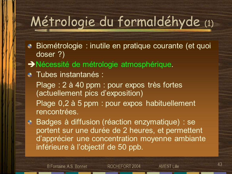 Métrologie du formaldéhyde (1)