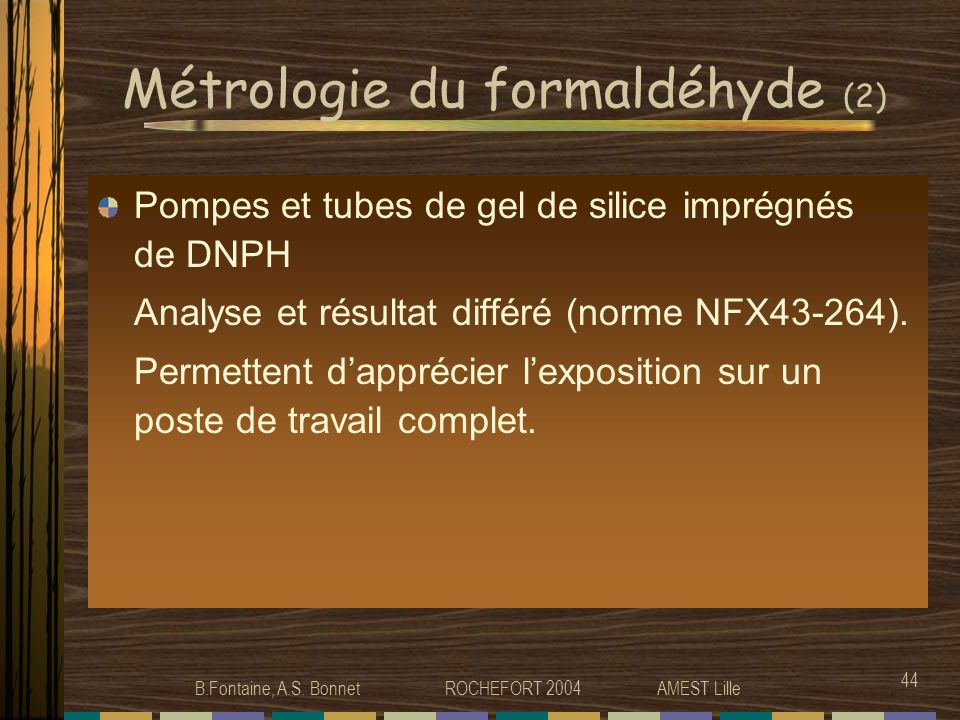 Métrologie du formaldéhyde (2)