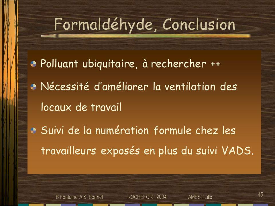 Formaldéhyde, Conclusion