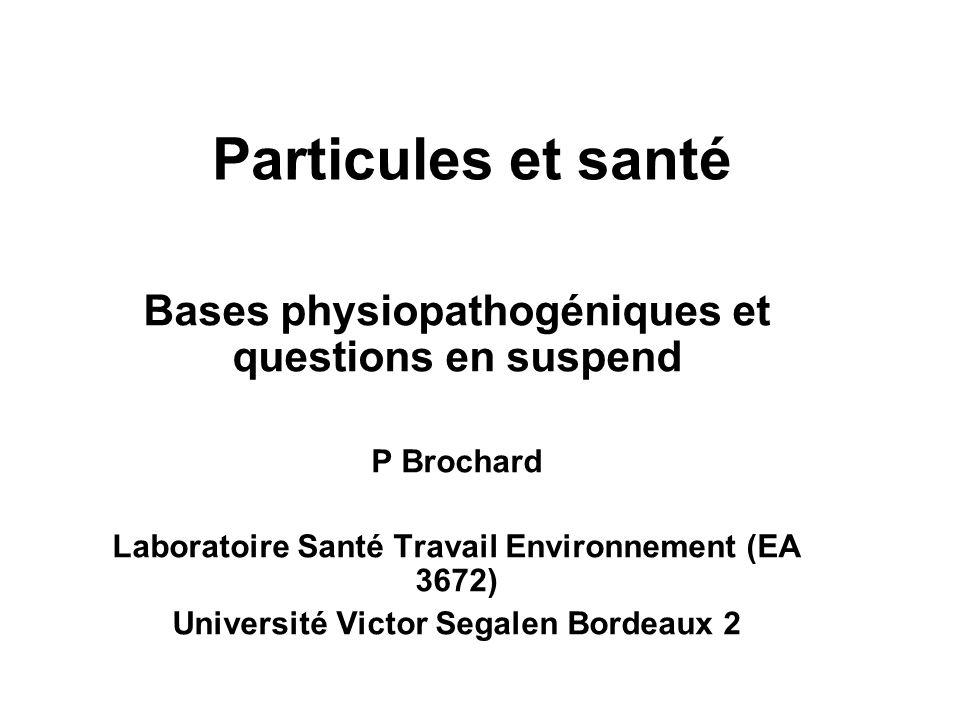 Particules et santé Bases physiopathogéniques et questions en suspend
