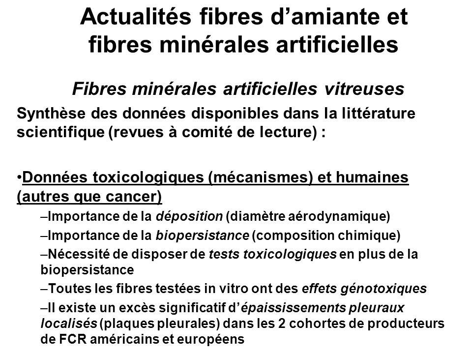 Actualités fibres d'amiante et fibres minérales artificielles