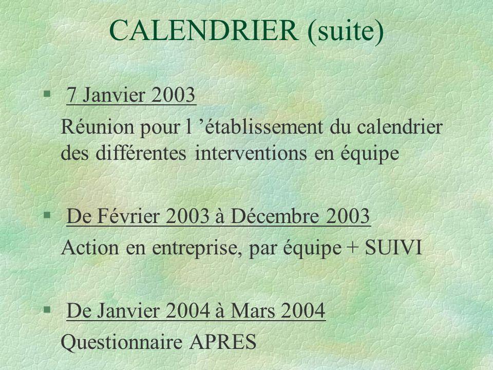 CALENDRIER (suite) 7 Janvier 2003