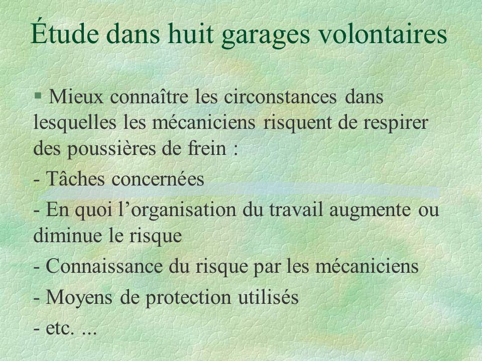 Étude dans huit garages volontaires