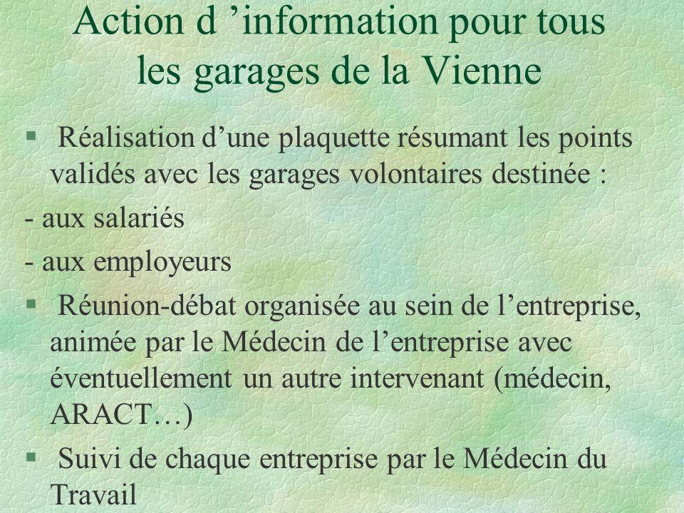 Action d 'information pour tous les garages de la Vienne