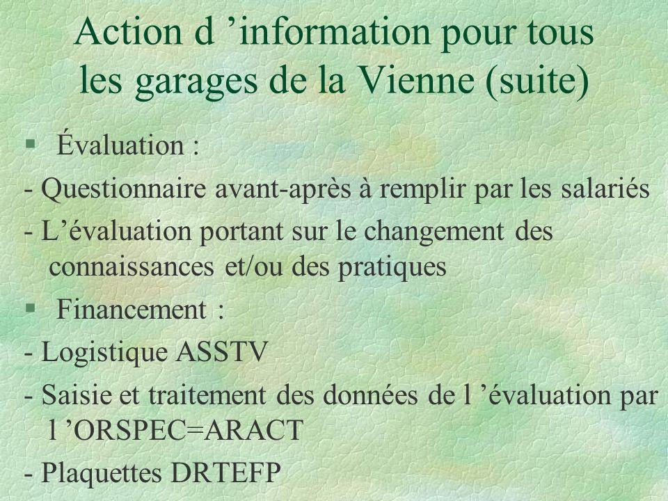 Action d 'information pour tous les garages de la Vienne (suite)