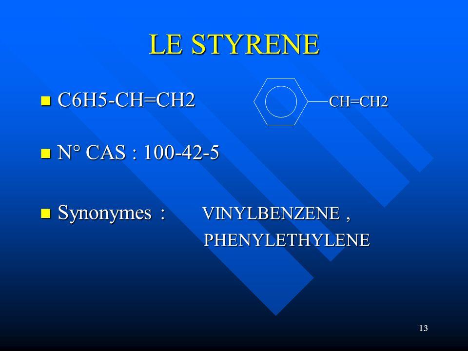 LE STYRENE C6H5-CH=CH2 CH=CH2 N° CAS : 100-42-5