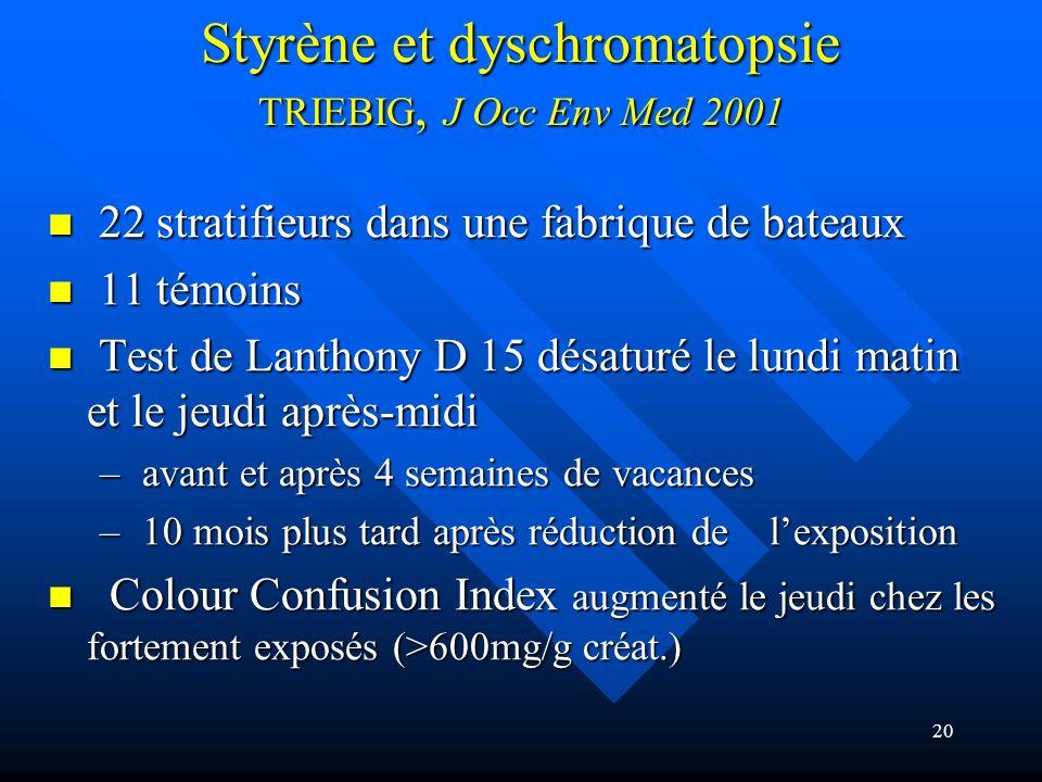 Styrène et dyschromatopsie TRIEBIG, J Occ Env Med 2001