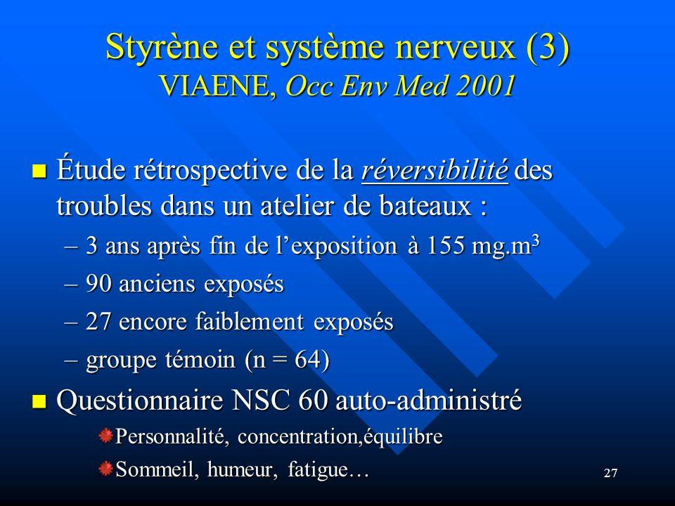 Styrène et système nerveux (3) VIAENE, Occ Env Med 2001