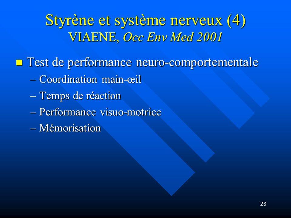 Styrène et système nerveux (4) VIAENE, Occ Env Med 2001