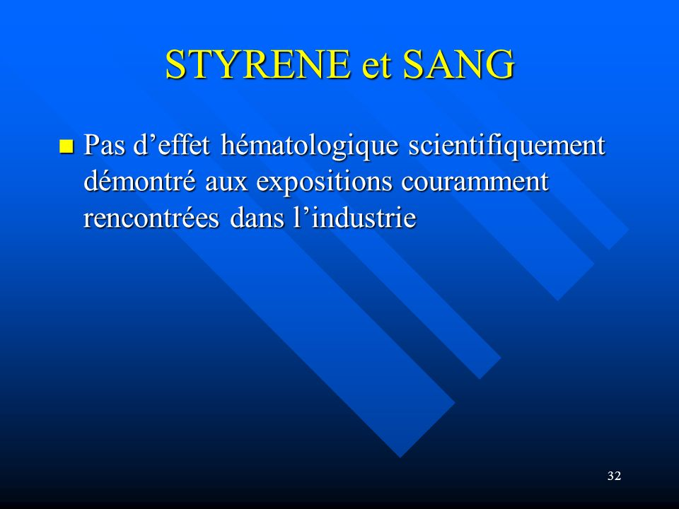STYRENE et SANGPas d'effet hématologique scientifiquement démontré aux expositions couramment rencontrées dans l'industrie.