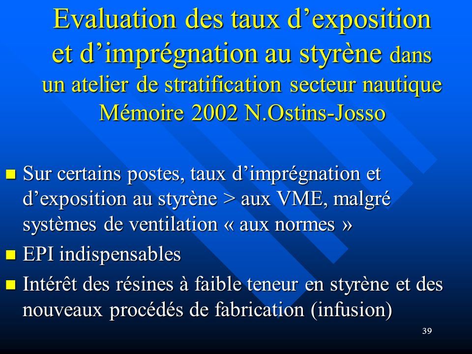 Evaluation des taux d'exposition et d'imprégnation au styrène dans un atelier de stratification secteur nautique Mémoire 2002 N.Ostins-Josso