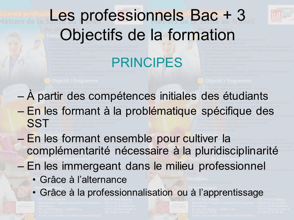 Les professionnels Bac + 3 Objectifs de la formation