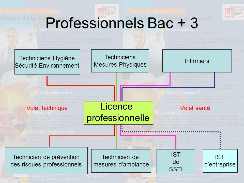 Professionnels Bac + 3 Licence professionnelle Techniciens Hygiène