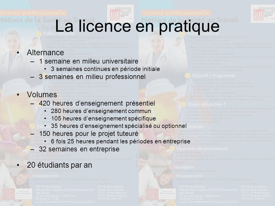 La licence en pratique Alternance Volumes 20 étudiants par an