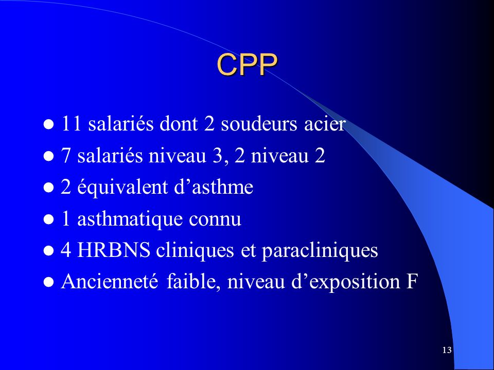 CPP 11 salariés dont 2 soudeurs acier 7 salariés niveau 3, 2 niveau 2