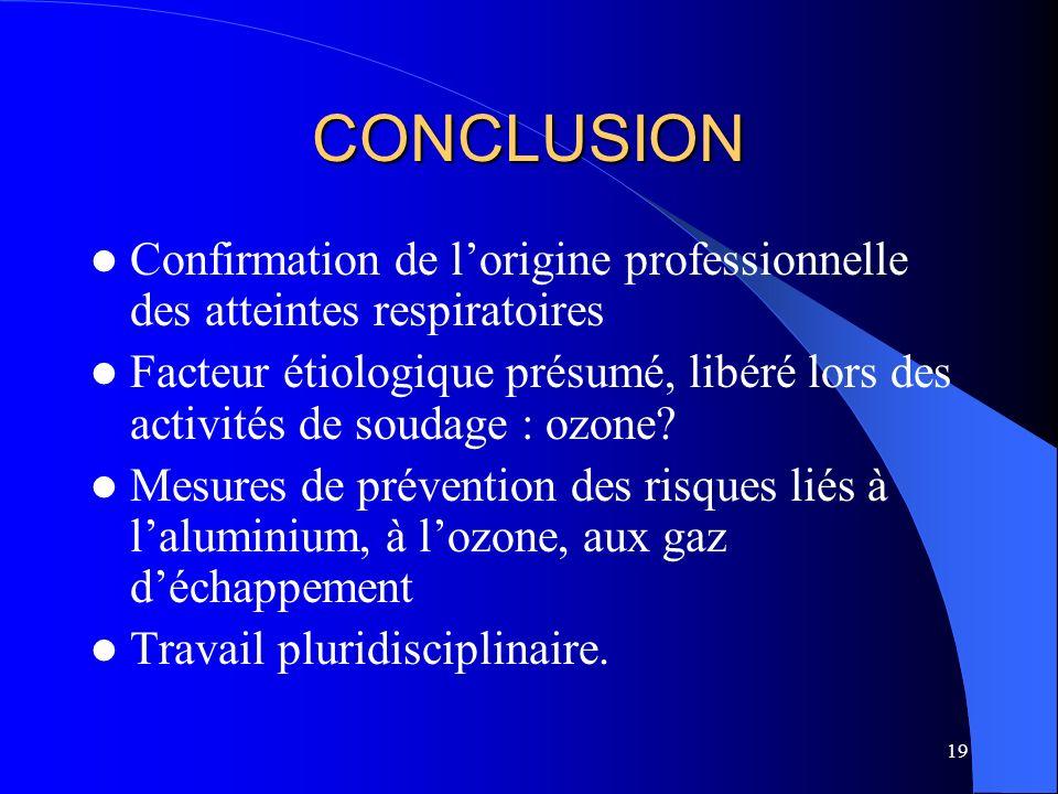 CONCLUSION Confirmation de l'origine professionnelle des atteintes respiratoires.