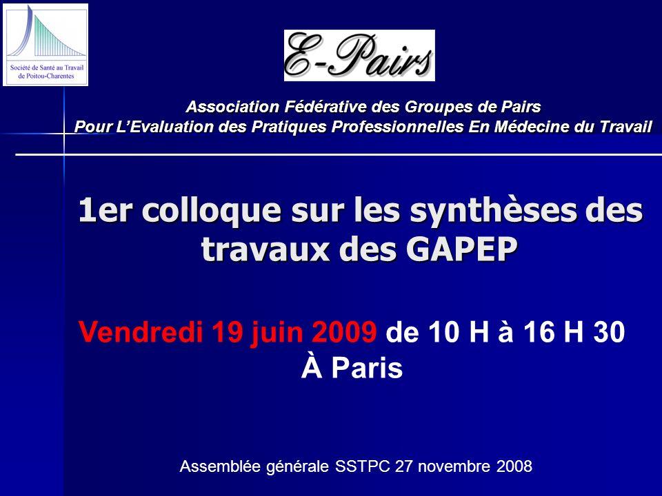 1er colloque sur les synthèses des travaux des GAPEP