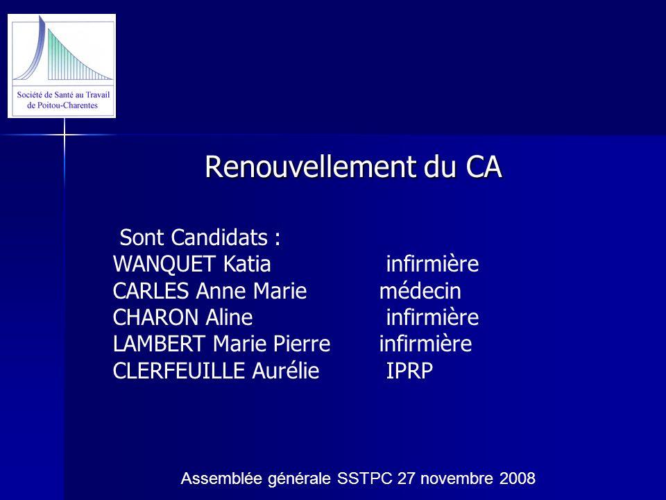 Renouvellement du CA Sont Candidats : WANQUET Katia infirmière