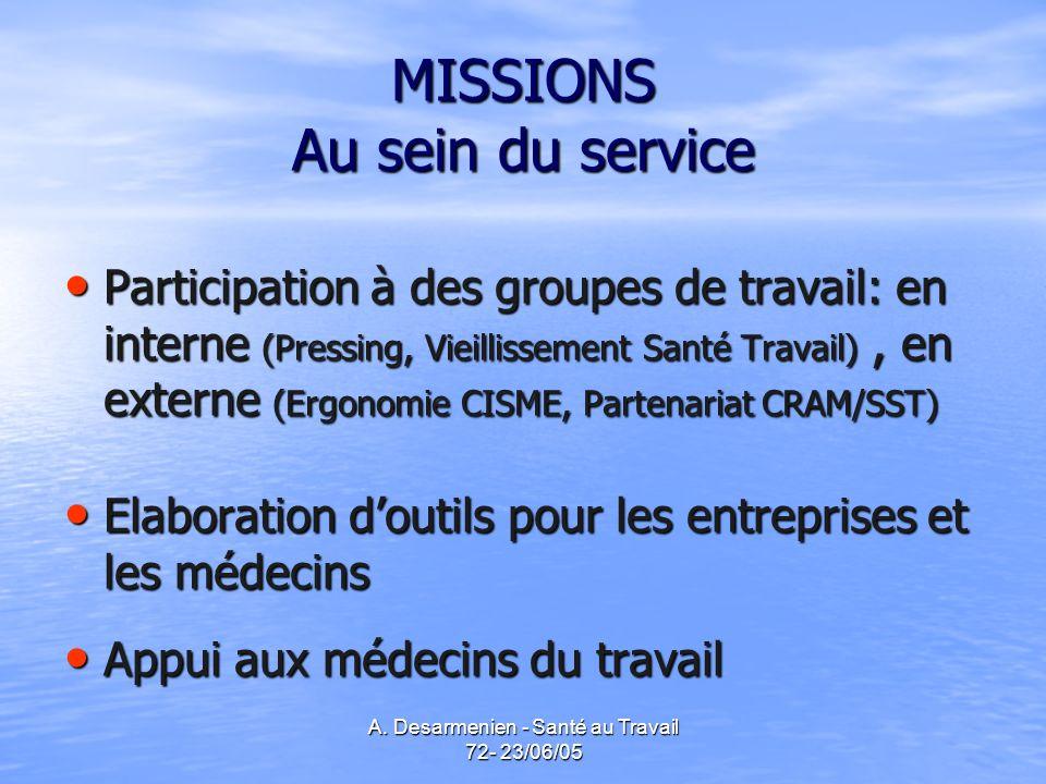 MISSIONS Au sein du service