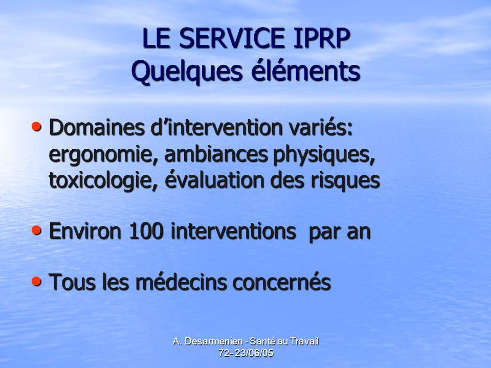 LE SERVICE IPRP Quelques éléments