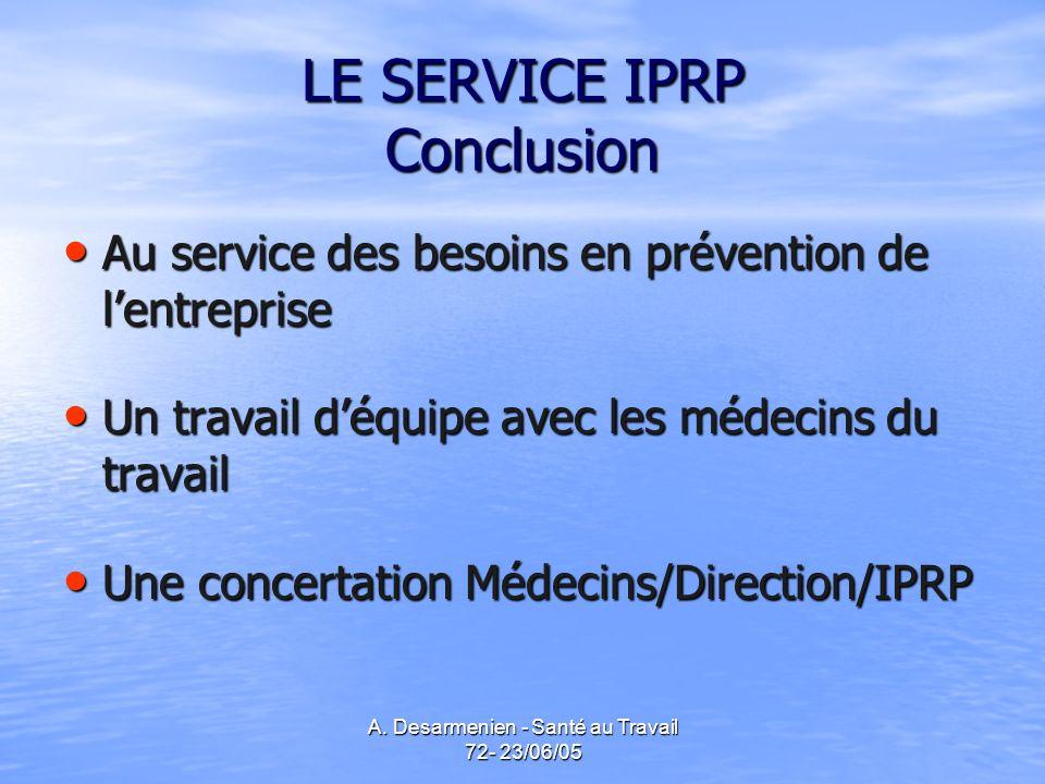 LE SERVICE IPRP Conclusion