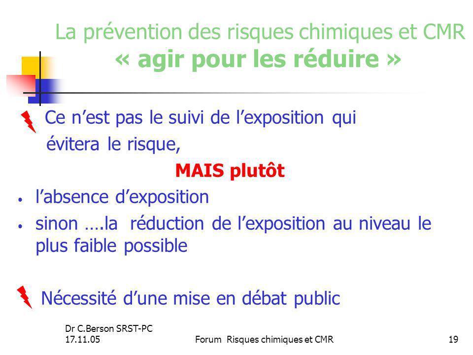 La prévention des risques chimiques et CMR « agir pour les réduire »