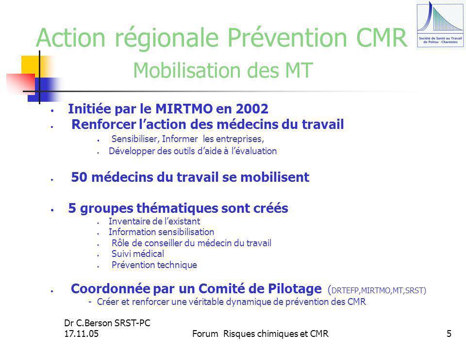 Action régionale Prévention CMR Mobilisation des MT