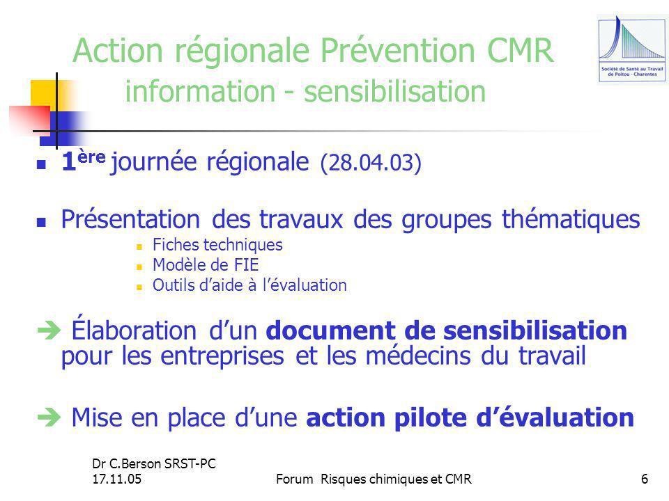 Action régionale Prévention CMR information - sensibilisation