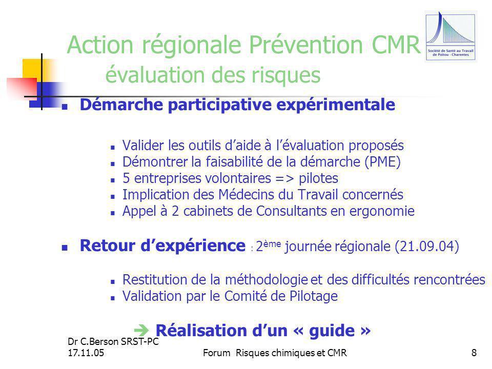 Action régionale Prévention CMR évaluation des risques