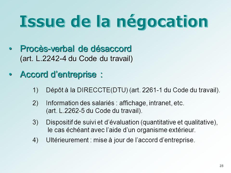 Issue de la négocation Procès-verbal de désaccord (art. L.2242-4 du Code du travail) Accord d'entreprise :