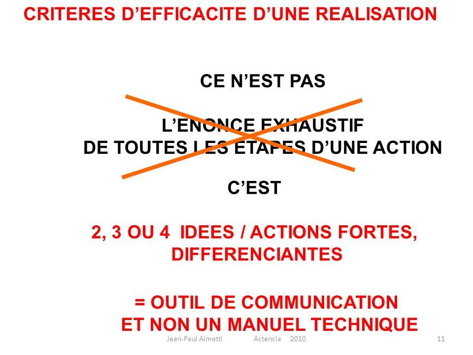CRITERES D'EFFICACITE D'UNE REALISATION