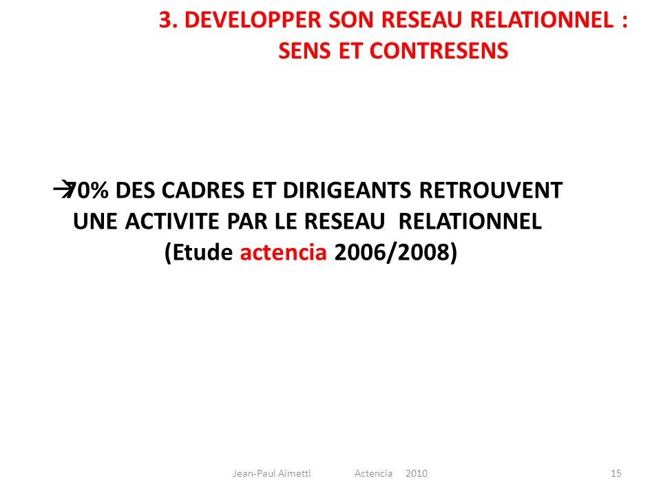 3. DEVELOPPER SON RESEAU RELATIONNEL : SENS ET CONTRESENS