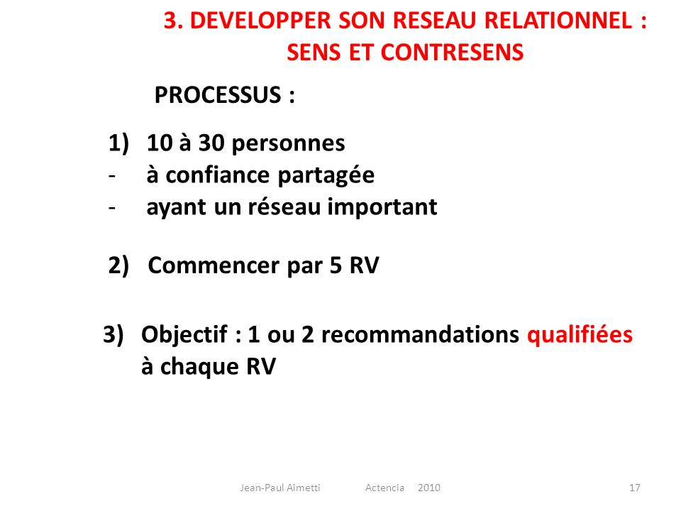 3. DEVELOPPER SON RESEAU RELATIONNEL :