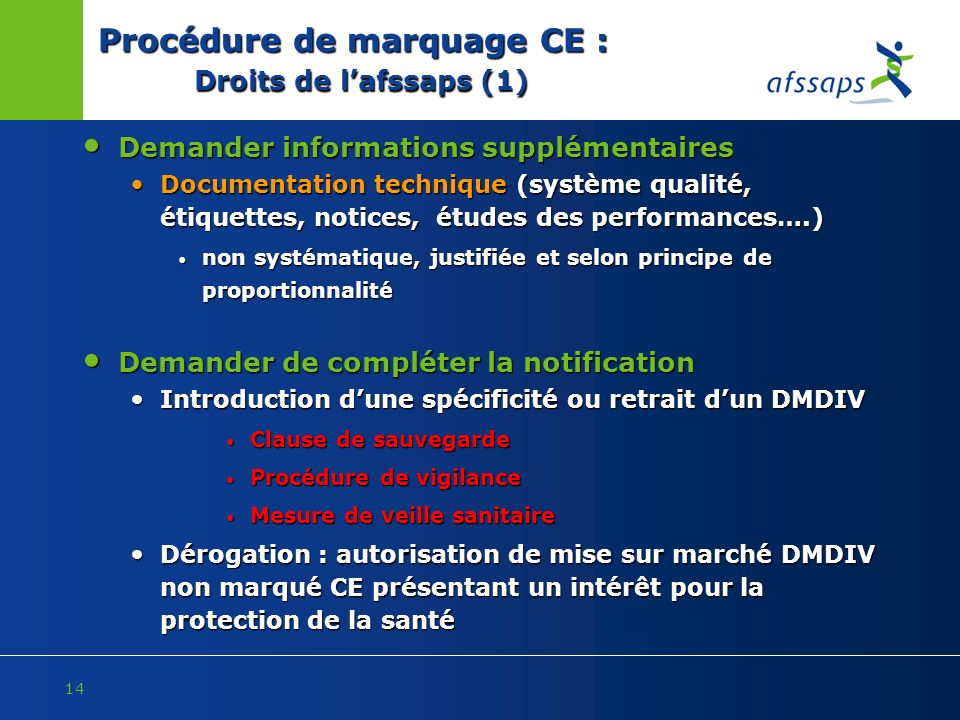 Procédure de marquage CE : Droits de l'afssaps (1)