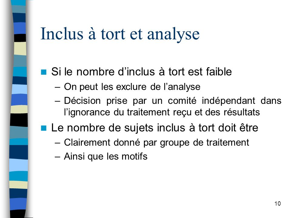 Inclus à tort et analyse