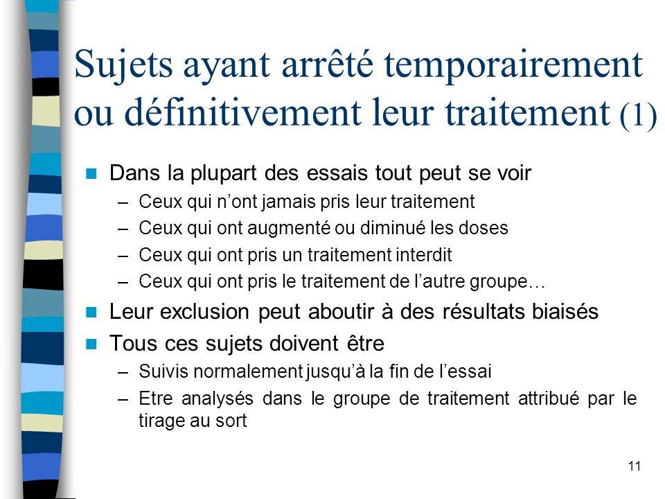 Sujets ayant arrêté temporairement ou définitivement leur traitement (1)