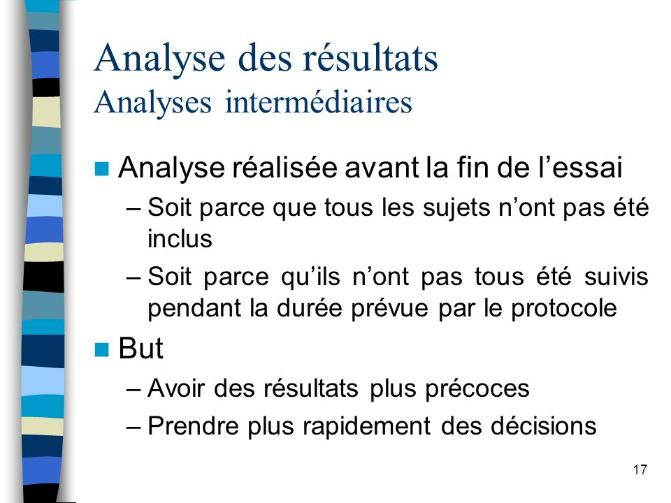 Analyse des résultats Analyses intermédiaires