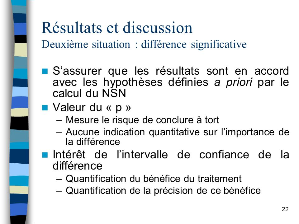 Résultats et discussion Deuxième situation : différence significative