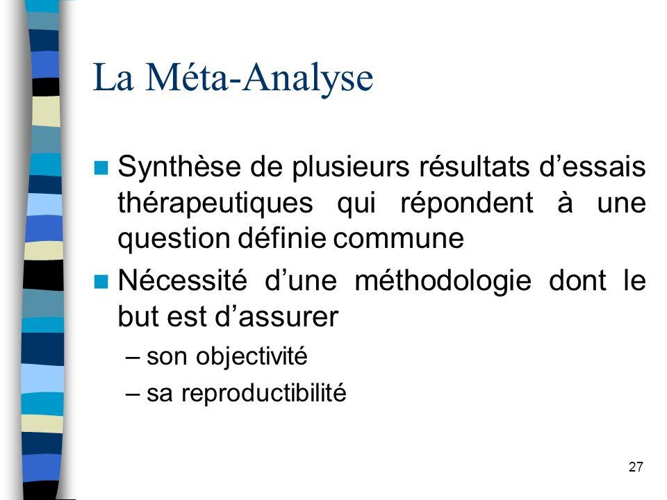 La Méta-Analyse Synthèse de plusieurs résultats d'essais thérapeutiques qui répondent à une question définie commune.